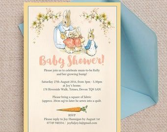 Personalised Flopsy Bunnies Beatrix Potter Baby Shower Invitation Cards