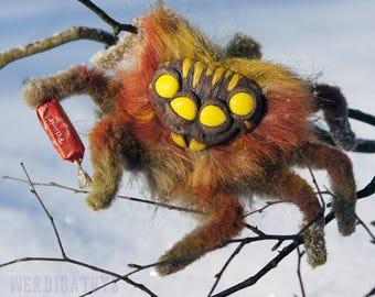 Spider Yellow Eyes. toy spider. Cute toy insect spider. Shaman toy spider. mobile toy spider. handmade artisan plush spiderWolverine