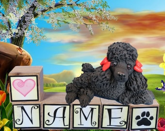 Black Poodle dog with  bows PERSONALIZED with your dog's name on blocks by Sally's Bits of Clay