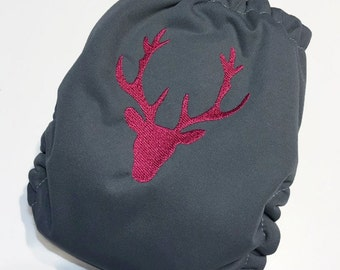 Layer washable reusable adjustable multitaille baby in pocket or in-one embroidered deer head