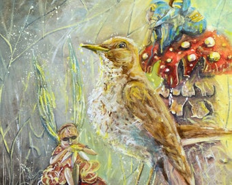 Song thrush & fairy A3 PRINT