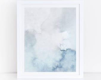 Blue and Gray Wall, Printable Watercolor Print, Abstract Art, Modern Wall Art, Wall Art, Blue Grey Print, Simple Print, Bedroom Art, Print