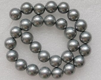 Light Grey South Sea Shell Pearl Beads 14mm - 16 Inch Strand