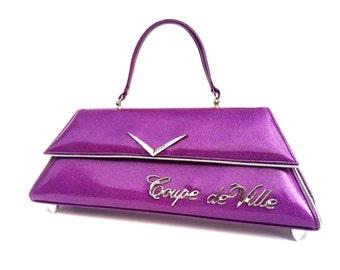 Couture Vintage Car inspired Handbag Made In USA- VIP Lounge- Coupe de VIlle Purple Metal Flake Car Bag