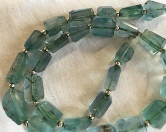 10-16MM Superb Hand polished blue  Florite  Nugget Shaped  beads Strand Afghanistan
