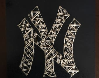 New York Yankees Wood Panel Painting and String Art