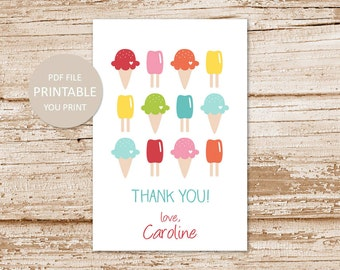 personalized ice cream favor tags . happy birthday . PRINTABLE ice cream cone favor stickers . thank you tags . gift tags . YOU PRINT