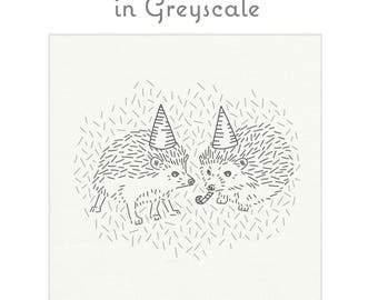 GREYSCALE hedgehog embroidery fabric, embroidery design, hedgehog embroidery pattern, modern embroidery by StudioMME