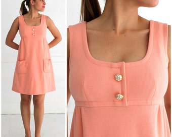 Vintage 1960's Mod Peachy Pink Baby-Doll Sleeveless Shift Dress with Rhinestone Buttons by Saks Fifth Avenue | Small