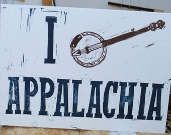I Pick Appalachia - Hand-Printed Greeting Card - Banjo