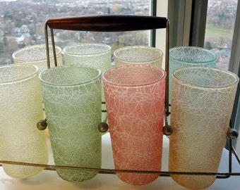 Vintage spaghetti string glasses with stand