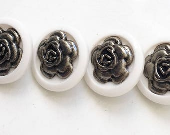 white shank buttons with 3D gun metal gray metal rose centers--matching lot of 4