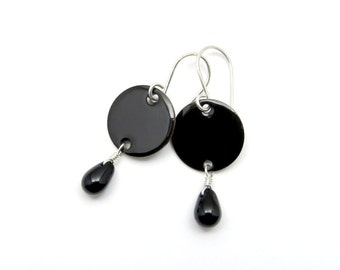 Black Enamel Earrings with Black Glass Tearrops and Sterling Silver Earwires - Gothic Jewelry - Gift for her