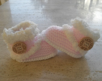 Knitted Baby Girl Fur Booties, Baby Girl Booties, Baby Girl Boots,  Baby Girl Fur Boots Size  3 to 6 Months Ready Made