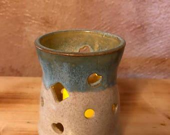 Pottery votive, hurricane light, candle holder, tea light, lantern