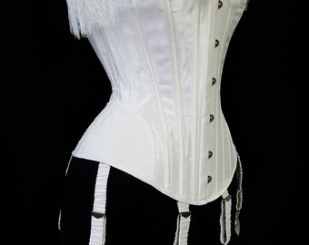 """SALE size small 23"""" waist - Suzette silk and lace corset- overbust corset with French lace overlays and ruffles, bridal wedding corset"""