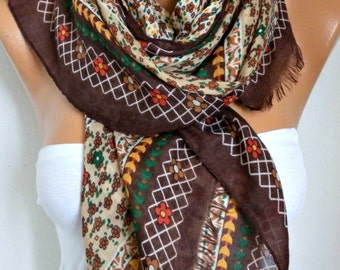 Brown Floral Cotton Scarf, Soft, Shawl,Spring Scarf, Cowl Oversize Wrap Gift Ideas For Her Women Fashion Accessories, Teacher Gift