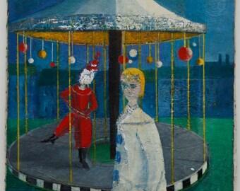 "Unframed Clowns/Circus Primitive • Acrylic on Stretched Canvas • Signed ""Rémi d'Ursanne"""