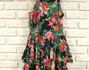 Vintage Sleeveless Dress Black Pink Floral Print Dress Tiered Ruffle Dress Small Dress