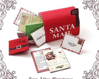 1:12 SANTA MAILBOX Dollhouse Miniature Letter Set – Diy Printable Miniature Santa Claus letter & Christmas Santa Letter Mailbox DOWNLOAD