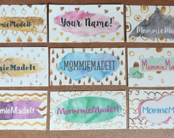 Gold Leaf and Watercolor Labels - Customized with Your Name, Business Name, or as an Ideal Personalized Gift