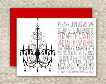 Chandelier BRIDAL SHOWER INVITATIONS In Black, Red and White Custom Digital Printable Cards - 90575278