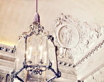 Chandelier Photo - 8x10 Versailles, Paris, French - Cherubs, Architecture, Baroque, Neutral, Mauve, White, Ivory, Romantic, Love