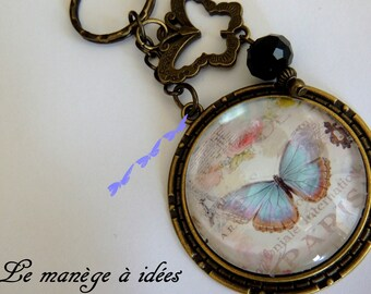 Key ring/cabochon/Metal Bronze / my blue butterfly/romantic.