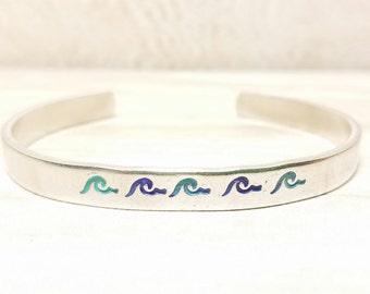 Wave Bracelet, Ocean Bracelet, Beach Bracelet, Hand Stamped Bracelet, Hand Stamped Cuff, Beach Jewelry