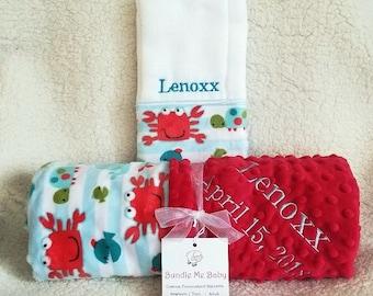 Minky Baby Boy Blanket Name Embroidery - Minky Gift Set Burp Cloths Newborn Nautical Fish Whales Crab Gray Grey 1st Crib Bedding