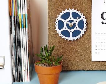 Bicycle Gear Clock - Teal Blue | Bike Clock | Wall Clock | Recycled Bike Parts Clock