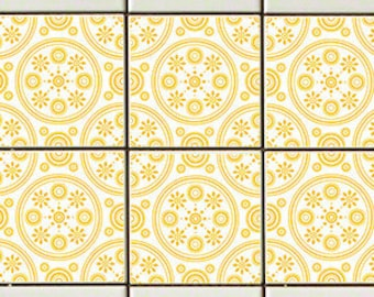 Retro Daisies Yellow RETile Decal - Clear Background