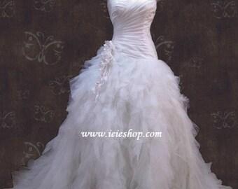 Strapless Sweetheart Ruffle Tulle Feathery Wedding Dress