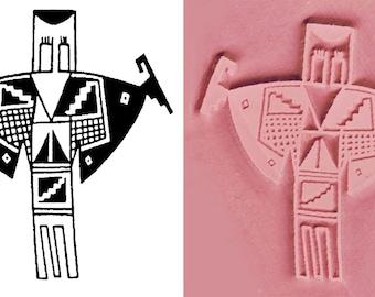 Große Schamane Design Stanzwerkzeug für Keramik PMC Fimo & Textile Design - Petroglyph Schamane Rock Art Stempel - Scrapbook-Design-Stempel
