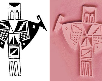 Large Shaman Design Stamping Tool for Polymer Ceramic PMC Clay & Textile Design - Petroglyph Shaman Rock Art Stamp - Scrapbook Design Stamp