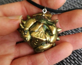 Metallic Golden d20 Dragon Charm