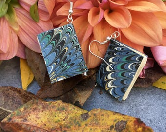 Book Earrings with Hand-Marbled Paper (blue/black waves)