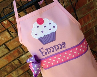 Personalized Cupcake Apron in Light Pink with Purple, Kids Apron, Adult Apron, Light Pink Apron, Mommy and Me Apron