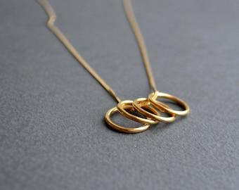 Orbit Circles Necklace   Gold Circles Necklace   Minimalist Pendant Necklace   Gold Circle Necklace