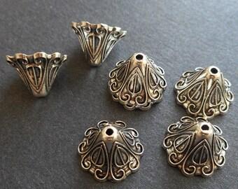 8pcs-15mm big bead caps, Antique silver bead caps
