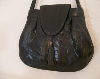 black eel skin purse shoulder handbag 1980s excellent condition