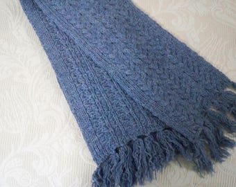 Vintage Accessory Women's Long Blue Hand Knit Scarf