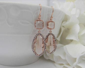 Large Rose Gold Champagne Earrings - Peach Bridesmaid Earrings - Champagne Bridesmaid Jewelry -Blush Wedding  Jewelry - Gift Idea For Her