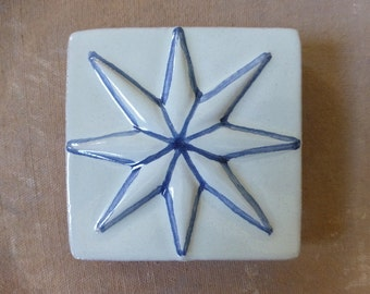 Ceramic tile with a star; Relief tile with a star; Ceramic tile wall art; Star gifts; Ceramic tile art; Portuguese tiles; Azulejo