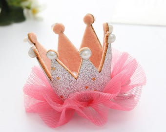 hair Crown Princess silver glitter tulle and pearls rhinestones