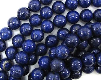 "10mm blue lapis lazuli round beads 15.5"" strand 30968"