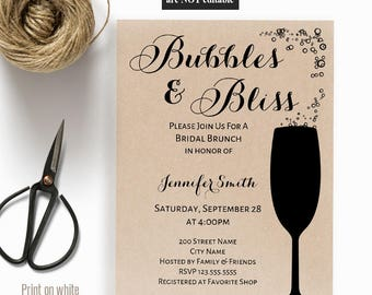 Bubbles & Bliss Shower invitation, Printable templates, Bridal shower invite, Instant download self editable pdf A514