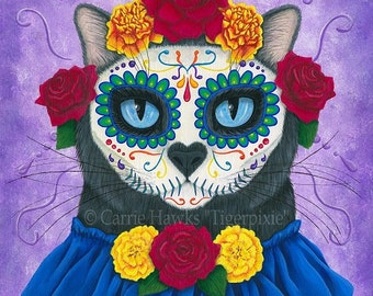 Mexican Sugar Skull Cat Day of the Dead Cat Art Black Cat Painting All Souls Day Gothic Cat Art Print 8x10 Cat Lovers Art