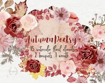 Autumn clip art, fall wreath, fall clipart, watercolor elements, digital watercolor, watercolor clipart, autumn graphics, fall wedding