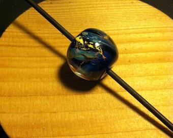 FosterFire: Nebula Heart of Gold Lampwork Bead 19mm OOAK
